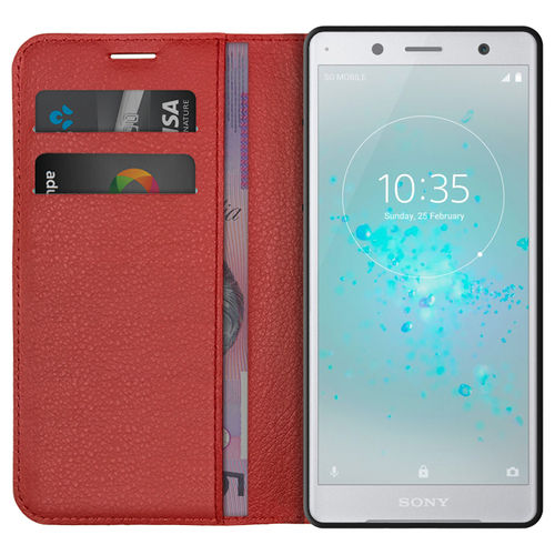 Leather Wallet Case & Card Holder Pouch for Sony Xperia XZ2 Compact - Red